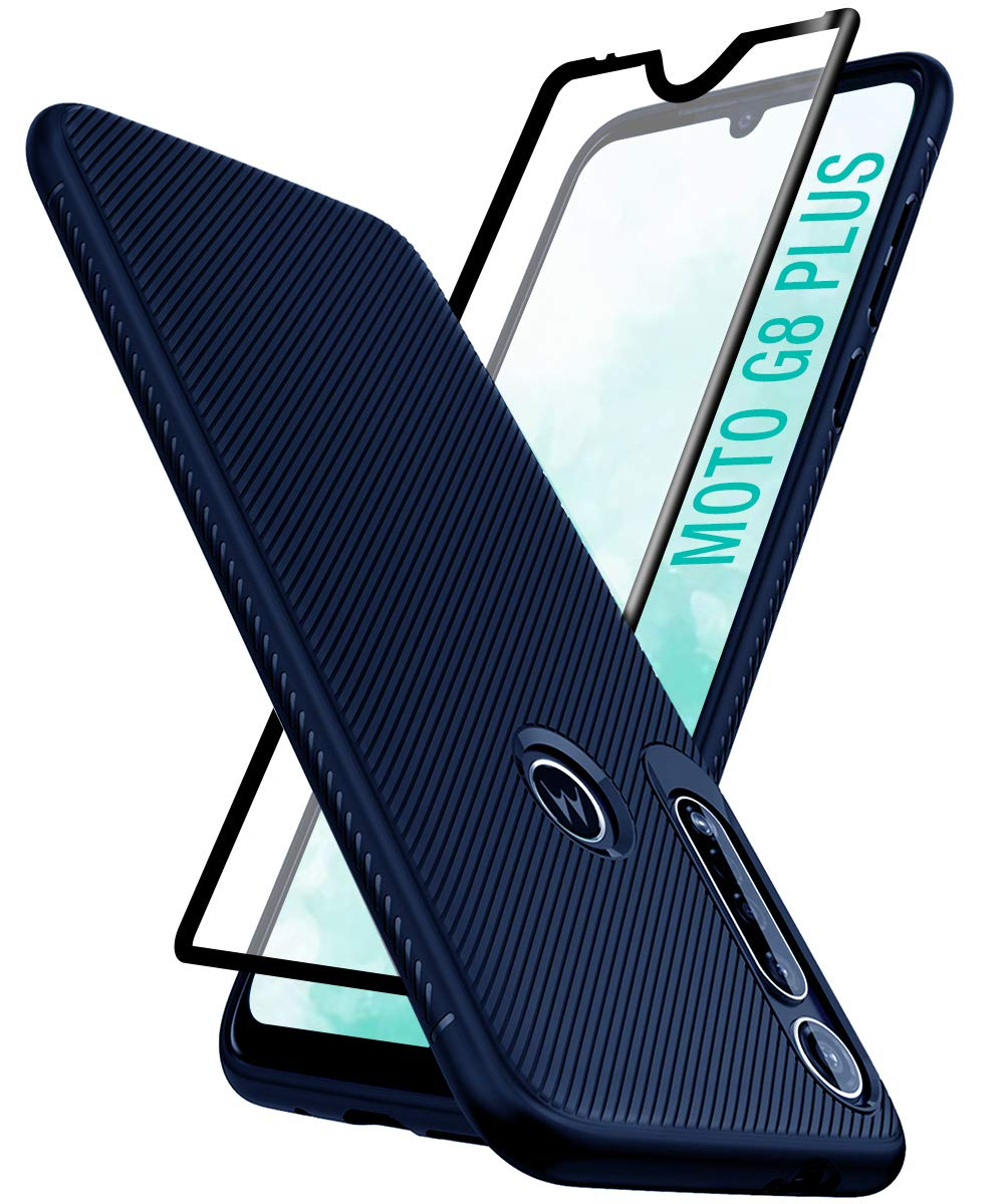 Funda Delgada Y Vidrio Templado Para Motorola G8 Plus, Azul