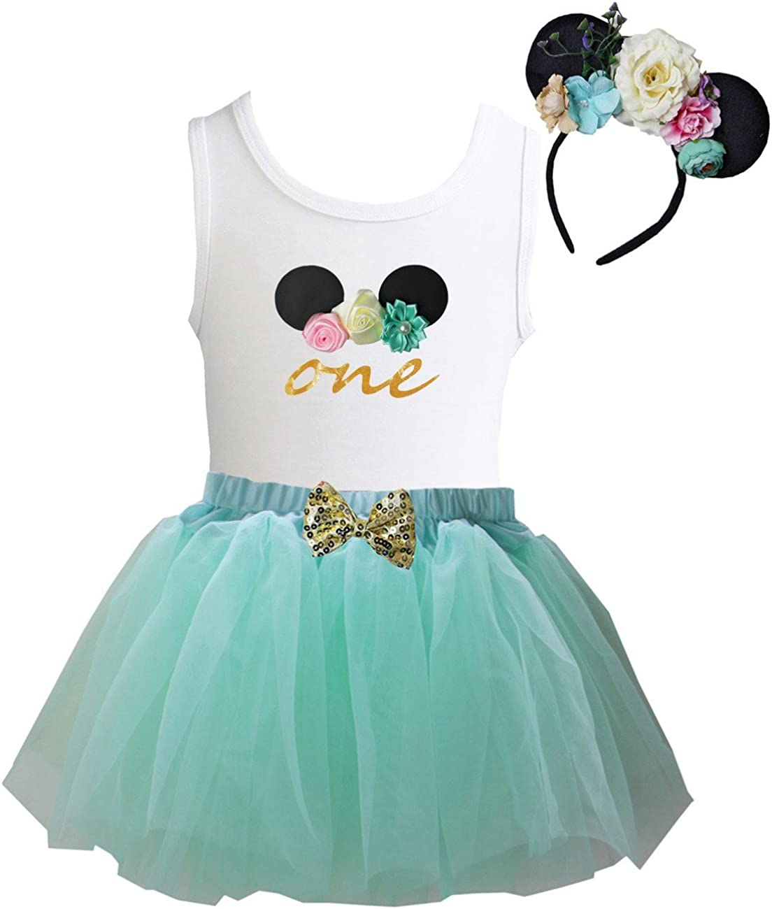 Kirei Sui Mint Pink Tulle Tutu 1st 5th Birthday Tee /& Floral Mouse Headband Outfit