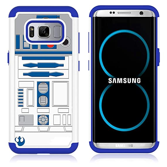 Galaxy S8 Case, S8 Case, R2D2 Astromech Droid Robot Pattern  Shock-Absorption Hard PC and Inner Silicone Hybrid Dual Layer Armor  Defender Protective