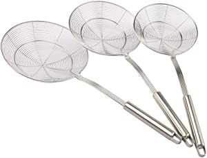 Super Leader Set of 3 Stainless Steel Skimmer Spider Strainer,Swify Stainless Steel Asian Strainer Ladle Frying Spoon with Handle for Kitchen Deep Fryer, Pasta, Spaghetti, Noodle