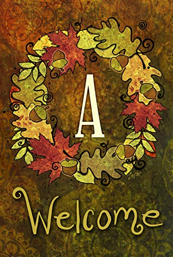 Toland Home Garden Fall Wreath Monogram A 12.5 X 18 Inch Decorative Autumn Leaves Welcome Initial Garden Flag - Monogram Holiday Wreath Garden