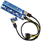 6-Pack PCIe VER 006 PCI-E 16x to 1x Powered Riser Adapter Card w/ 60cm USB 3.0 Extension Cable & MOLEX to SATA Power Cable - GPU Riser Adapter - Ethereum Mining ETH