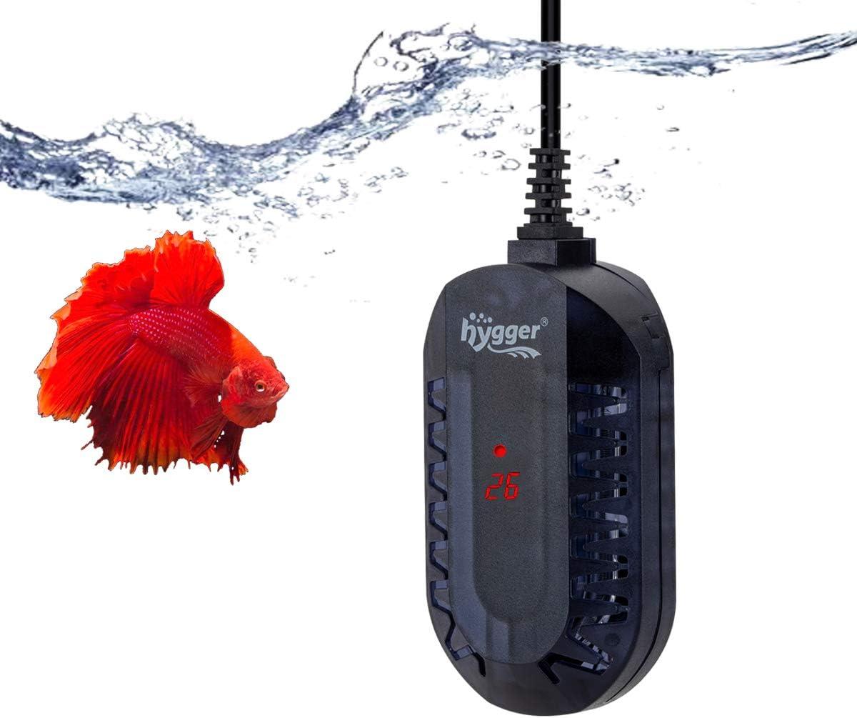 hygger Calentador para Acuario, Ajustable Sumergible Calentador con LED Digital Controlador Externo Protector Antiexplosión para Pecera de Tortuga Betta y Pequeña (50W, 1-25litros)