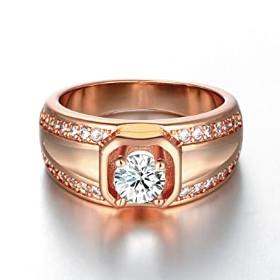 c6d036c5e YiLinger Exquisite Men Jewelry Rose Gold Plated Irregular Pattern Cubic  Zirconia Wide Band Wedding Rings Size