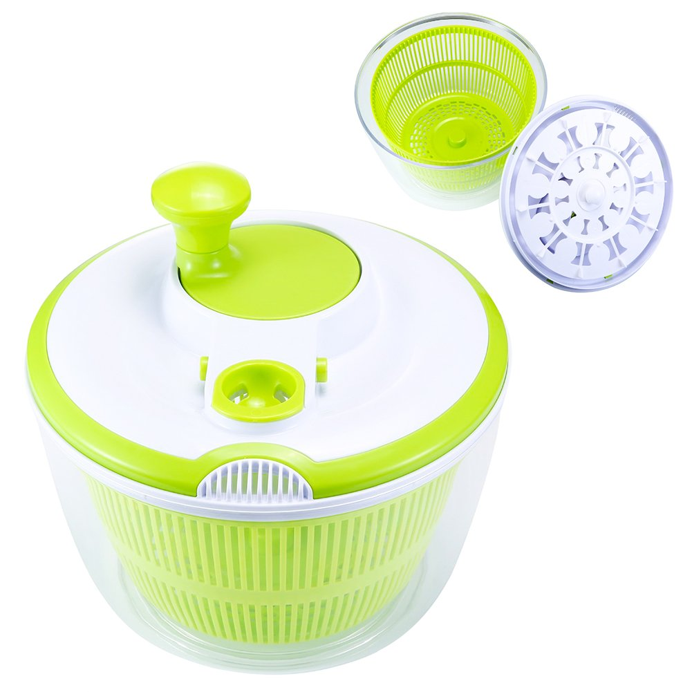 Salad Fruit Spinner Mainstay Vegetable Lettuce Salad Washer Spinner Dryer Dehydrator FDA Certified Fast Labor Saving Cleaning Storage Tool 5L(Green)