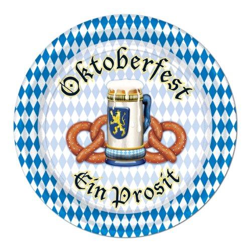 Beistle 58067 8-Pack Oktoberfest Plates, 7-Inch