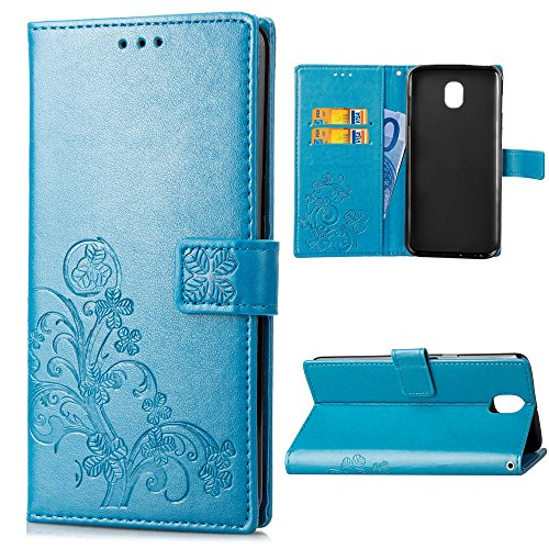Galaxy J3V J3 V 3rd Gen Case Lucky Clovers Wallet Case PU Leather Magnetic Flip Cover Shock Resistant Flexible Soft TPU Slim Protective Bumper Card Slots Kickstand Lanyard for Samsung Galaxy J3 Blue
