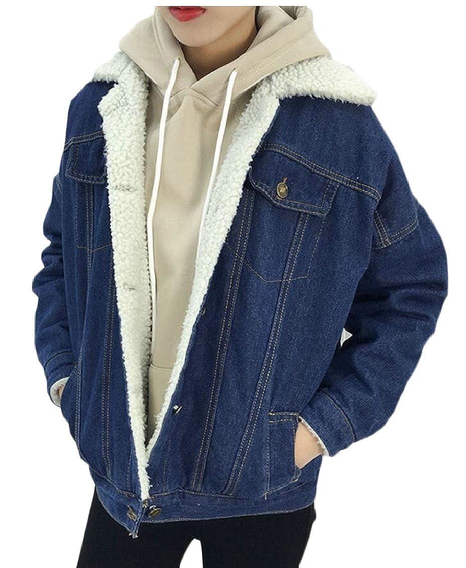 Gocgt Women's Thicken Lambs Wool Denim Jacket Loose Jean Outerwear Coat