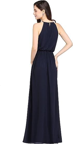 Mother of Bride Groom Maxi Dress Navy Chiffon Bridesmaid Dress Straight Across Wedding Dress Short Sleeve Fitted Long Evening Dress JQ181