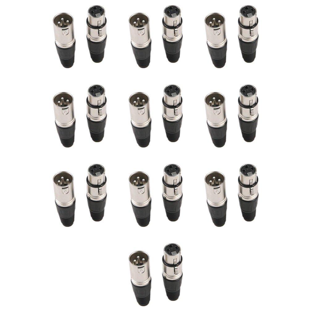 10 Pairsオス&メス3 - Pin XLRマイクマイクロフォンオーディオケーブルプラグ20コネクタ B01JOLAMVC