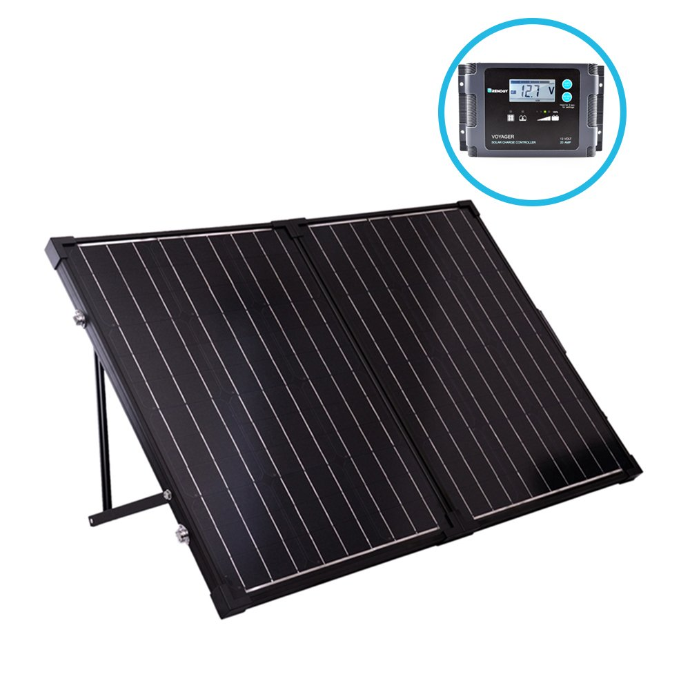Renogy 100 Watt 12 Volt Monocrystalline Off Grid Portable Foldable 2Pcs 50W Solar Panel Suitcase Built-in Kickstand with Waterproof 20A Charger Controller by Renogy