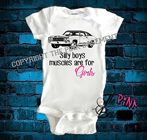 HANDMADE Girl Muscle Car Dad Daddy Papa Grandpa Uncle Baby Clothes Clothing funny Unisex Boys Girls Newborn Infant Onesies Shower Gift Clothing Gifts