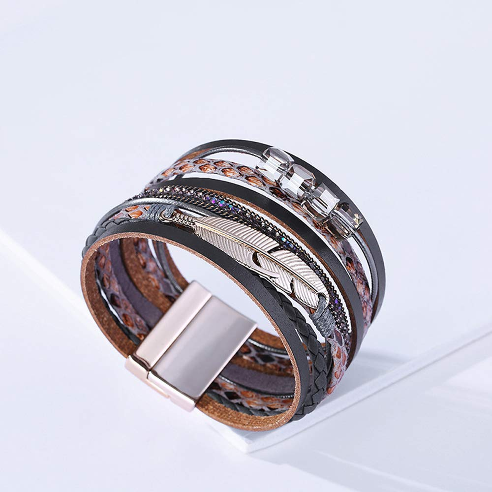 TOPIA STAR 2020 Leather Cuff Bracelet Multi Strands Brown Wrap Bangle with Pearl Boho Jewelry for Women Teen Girl Gift