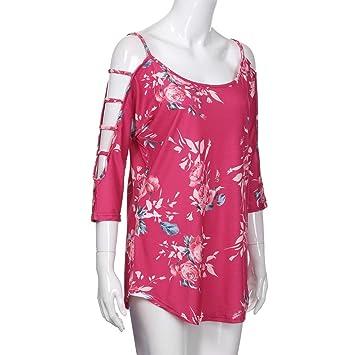LILICAT® Camisetas sueltas para mujeres (S ~ 5XL), 2018 Blusas de manga corta con estampado floral y hombros ahuecados de verano, Blusas con cuello de pico ...