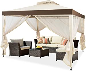 KEDY 10' x 10' 2-Tier Outdoor Soft Top Gazebo with Curtains, Canopy Gazebo Tent Shelter Garden Lawn Patio House Party Canopy Home Patio Garden Structures Gazebos (Beige)