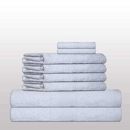 Set de 8 Toallas clásico -. Calidad 500 g / m² - todos los colores - Toallas de 4x - 2x toallas de baño - 2 Invitado Toallas - 100% algodón - amarillo: ...