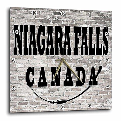 3dRose RinaPiro - Cities around the World - Niagara Falls. Canada. Brick wall. - 10x10 Wall Clock - Outlets One Canada Niagara