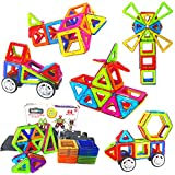 LearnFun 44 Pieces Strong Magnetic Building Block Set - Colorful 3D Construction Tiles for Children - Best Educational, Learning Preschool Creativity Kit STEM Toys for Toddlers, Kids, Girls & Boys