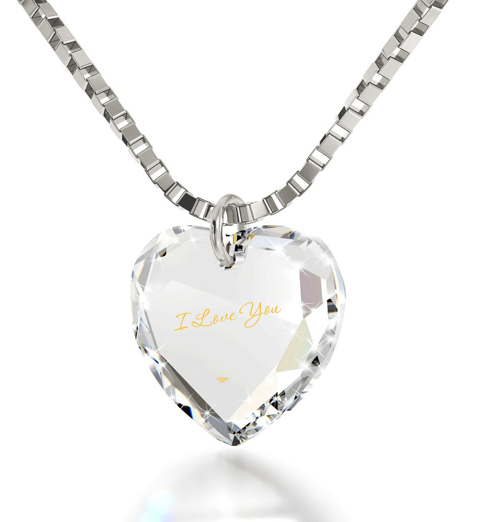 Tiny Heart Pendant I Love You Necklace 24k Gold Inscribed on Clear Crystal, 18'' 925 Sterling Silver Chain