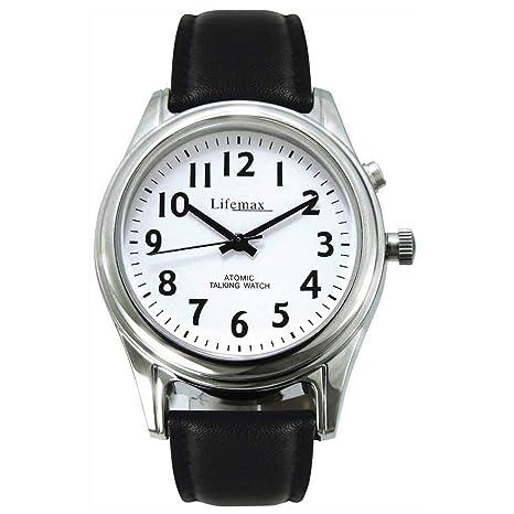 NRS Healthcare M48878 - Reloj parlante controlado por radio con correa de piel, para hombre