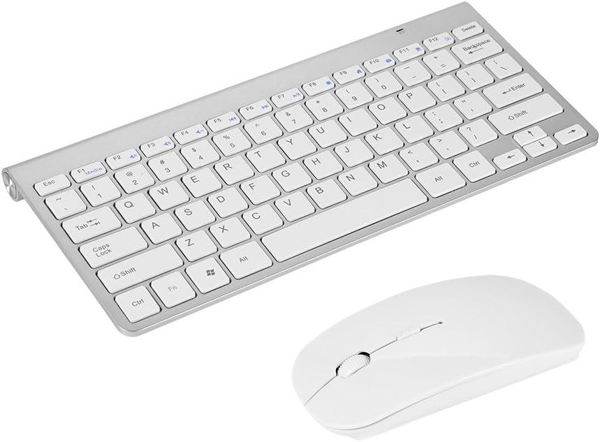 Richer-R Slim Waterproof 2.4GHz Wireless Keyboard and Mouse Combo with 12 Multi-Media Keys for Desktop Laptop Apple MacBook PC Win XP/ 7/8 (Silver)