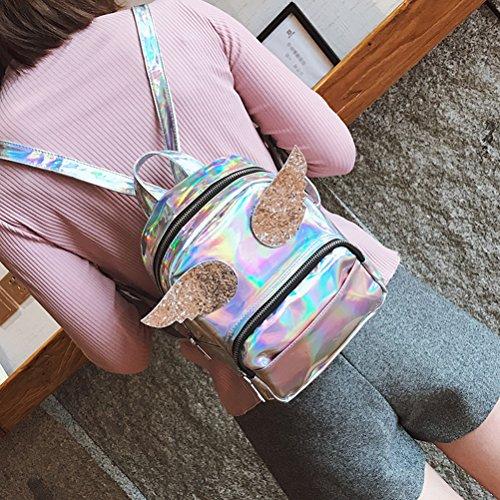 LUOEM à pour Sac PU les Cartable occasionnel dos Sac main cuir en Zipper Laser femmes Argent Hologramme à qfw5Rqx6r
