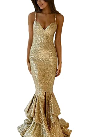 Ri Yun Sexy Spaghetti Strap V Neck Sequins Mermaid Prom Dresses Long 2018 Evening Gowns For