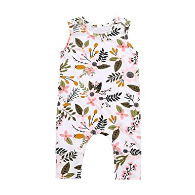 812526b5a2e Fineser Baby Romper Infant Boys Girls Floral Leaf Print Jumpsuit Outfit  Clothes (White