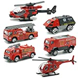 JQGT Fire Engine Toy Rescue Playset Emergency Vehicle 6 PCS Mini Firetrucks Toy for Kids Boys