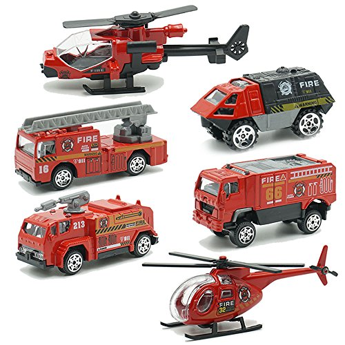 Fire Rescue Vehicles - JQGT Fire Engine Toy Rescue Playset Emergency Vehicle 6 PCS Mini Firetrucks Toy for Kids Boys