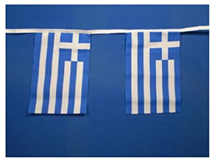 b2df3912f7f Amazon.com   Greece Greek Flag Bunting 9metres 30ft Long with 30 ...