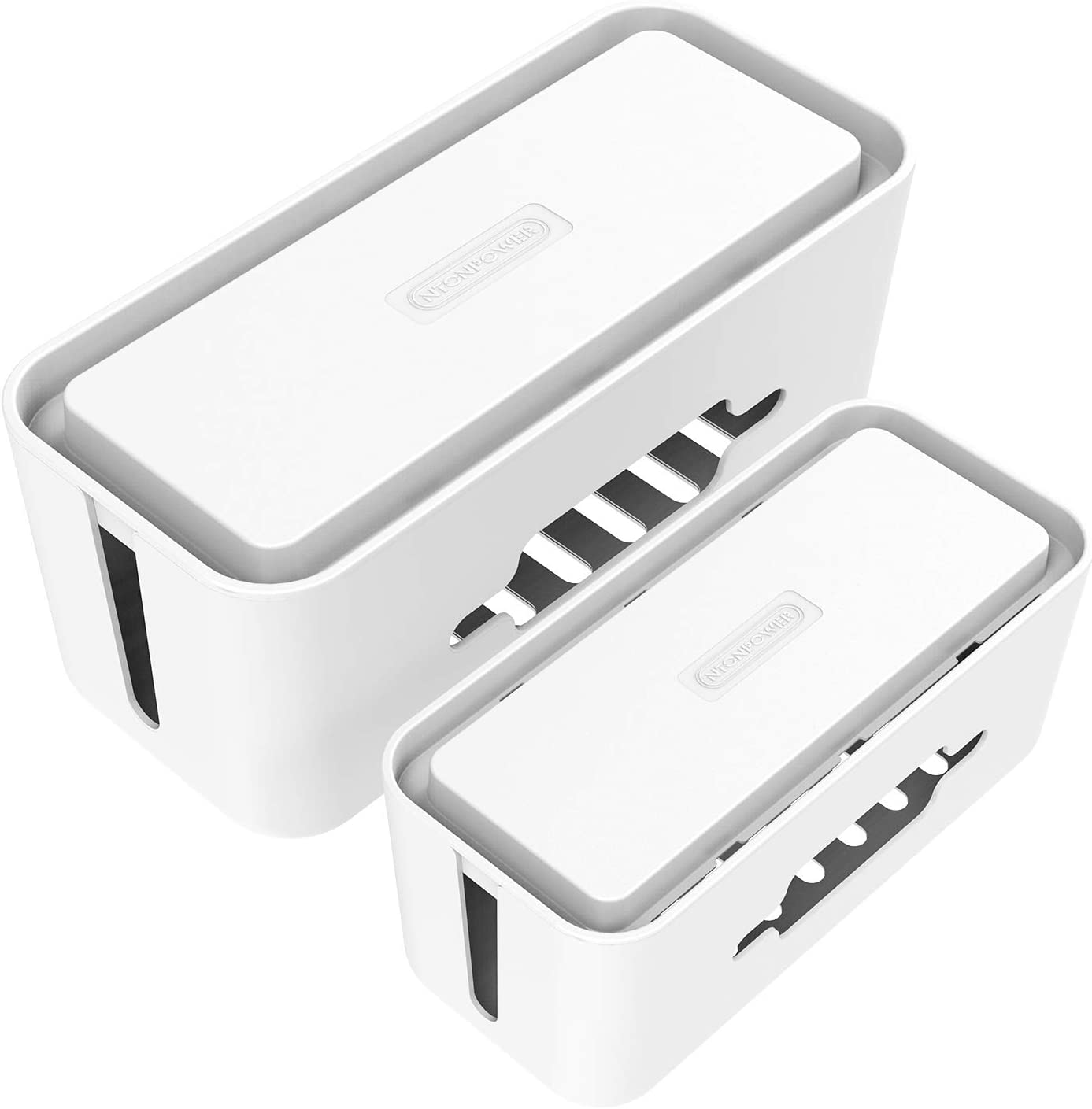 Cable Management Box - NTONPOWER Cord Organizer Box Set of 2, Surge Protector Cover with Phone Tablet Holder, Large & Extra Large Hide Cable Box for Home, Office, Entertainment Center, Floor - White
