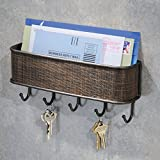 "iDesign Twillo Mail and Key Holder, Decorative Wall Mounted Key Rack Organizer Pocket and Letter Sorter Holder for Entryway, Kitchen, Mudroom, Home Office Organization, 10.5"" x 2.5"" x 4.5"", Bronze"
