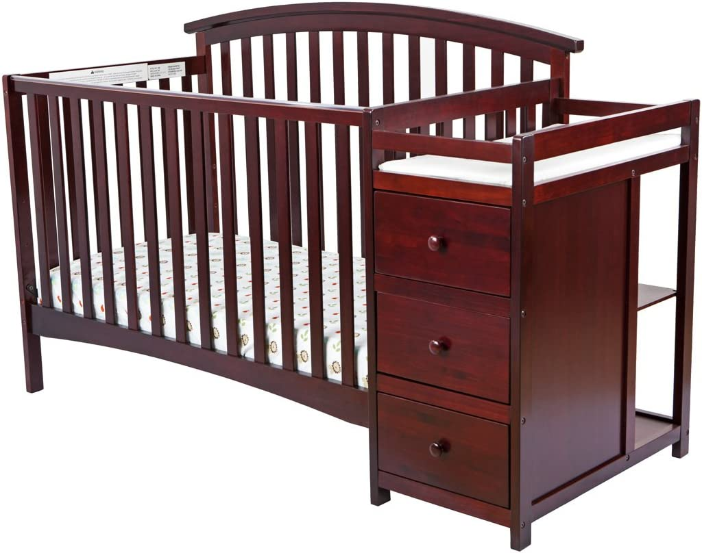 Dream On Me Niko 5-in-1 Convertible Crib and Changer, Cherry