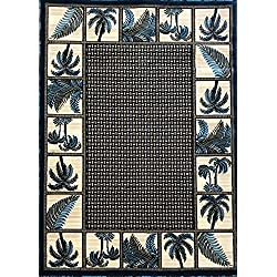 Palm Tree Modern Area Rug Tropical Turquoise Design 728 (5 Feet X 7 Feet)