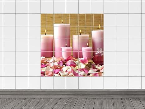 Piastrelle adesivo piastrelle immagine rosa candele e rosa e