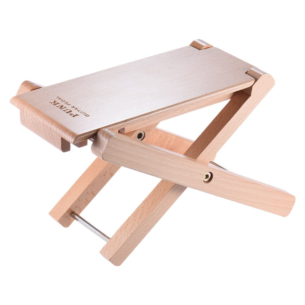 ammoon Guitar Foot Rest Stool Pedal 4-Level Adjustable Height Beech Wood Material 4334252474