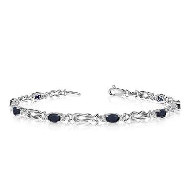 Amazon Com 14k White Gold Oval Sapphire And Diamond Bracelet 7