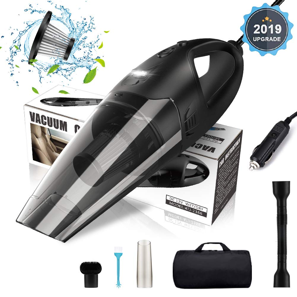 Car Vacuum Cleaner, MOICO High Power Portable Vacuum Small Handheld Cleaning Corded 5000PA Wet and Dry Use with LED Light Low Noise 16.4FT(5M) DC 12V Carry Bag for All Vehicles