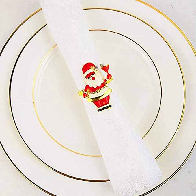 New Year,Christmas Dinner Parties Christmas Xmas Father Santa Claus Napkin Rings,6 PCS Metal Alloy Serviette Buckles Holder for Thanksgiving