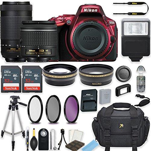 Nikon D5500 24.2 MP DSLR Camera (Red) w/ AF-P DX NIKKOR 18-55mm f/3.5-5.6G VR Lens & AF-P DX NIKKOR 70-300mm f/4.5-6.3G ED Lens Bundle includes 64GB Memory + Filters + Deluxe Bag + Accessories