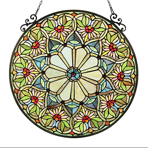 Chloe 23.5 Sunny, Tiffany-Glass Floral Window Panel, One Size