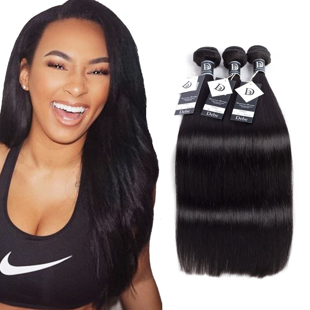 Debe Hair Peruvian Straight Virgin Hair 3 Bundles 8A Grade 100% Unprocessed Remy Human Hair Weave Extensions Natural Black (12 14 16)
