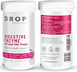Digestive Enzymes Chewables with Apple Cider Vinegar & Papaya - Sugar-Free & Delicious - Bloating, Gas Relief, Leaky Gut & Digestion Support - Better Alternative Than Capsules - 60CT