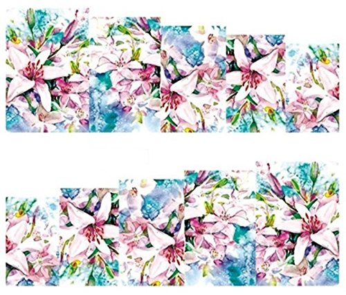 1 Sheet Rose Flower Nail Art Stickers Water Transfer Nails Wrap Paint Tattoos Stamper Plates Templates Tools Tips Kits Fascinating Popular Xmas Christmas Winter Stick Tool Vinyls Decals Kit, Type-25 ()