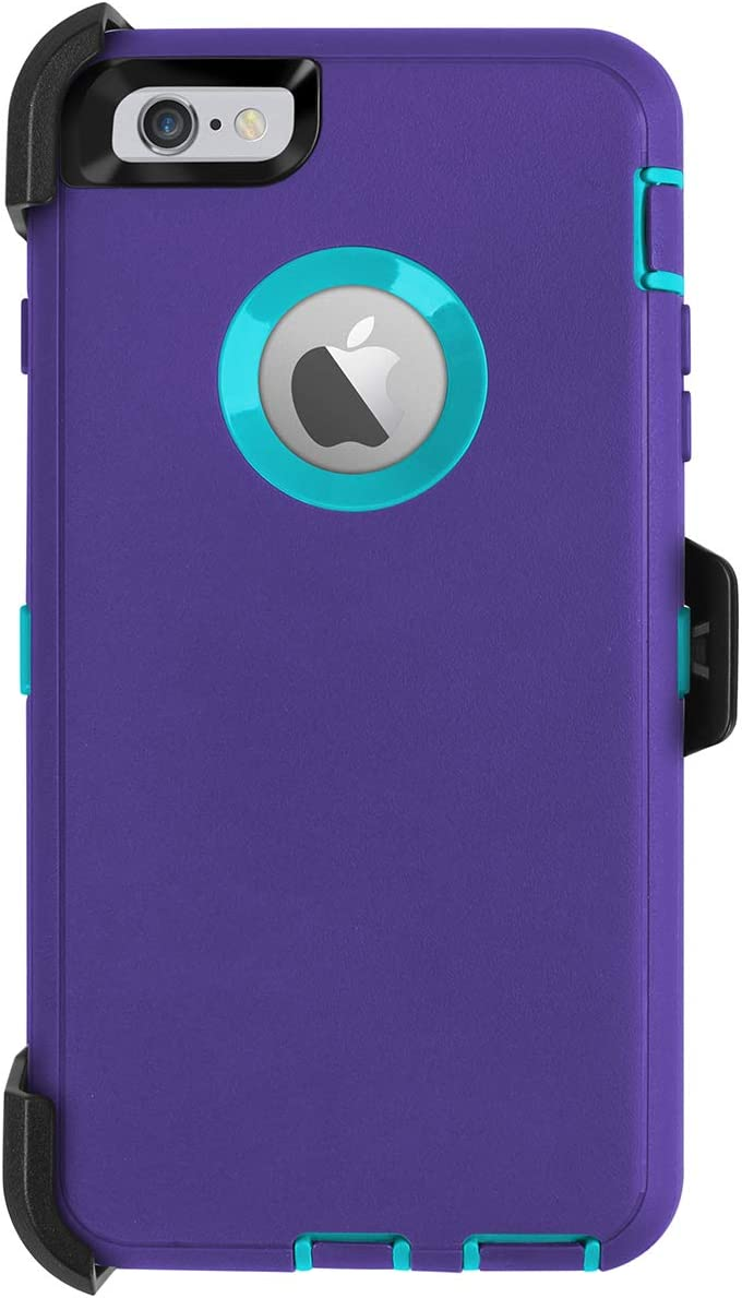 AICase iPhone 6 Plus Case,iPhone 6S Plus Case,[Heavy Duty] [Full Body] Built-in Screen Protector Tough 4 in 1 Rugged Shockproof Cover for Apple iPhone 6 Plus / 6S Plus (Purple/Blue with Belt Clip)