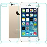 M.G.R Apple Iphone 5/ 5S/ 5C (Front + Back) Tempered Glass Screen Protector With 0.3Mm 2.5D Round Edge.Wet And Dry Cloth Pad ,Clear