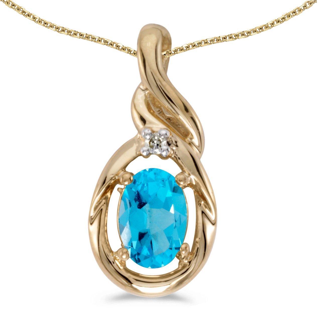 FB Jewels Solid 10k Yellow Gold Genuine Birthstone Oval Gemstone And Diamond Pendant 2//5 Cttw.