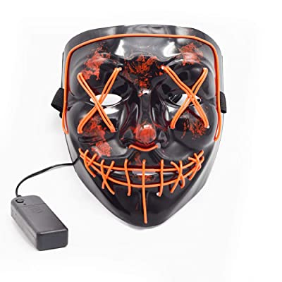 Nyicey LED Mask Halloween Scary Mask, LED Light up Frightening EL Wire Cosplay Glowing mask for Halloween Costume Masquerade Parties,Carnival,Festival Gifts (Red): Home & Kitchen
