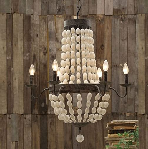 Iron Frame Wood Wooden Beads Ball Pendant Chandelier Lamp 6 Lights 28 Large Fixture Rustic